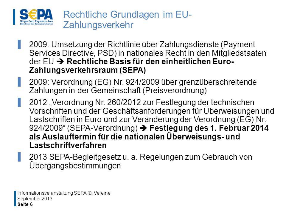 Rechtliche Grundlagen im EU- Zahlungsverkehr