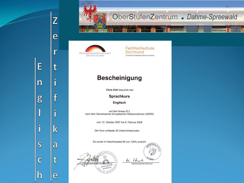 Englisch Zertifikate