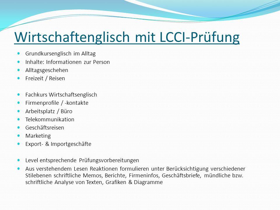Wirtschaftenglisch mit LCCI-Prüfung