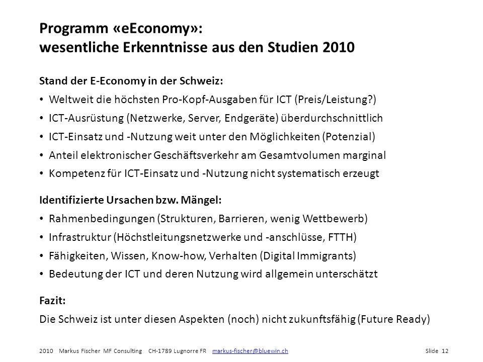 Programm «eEconomy»: wesentliche Erkenntnisse aus den Studien 2010