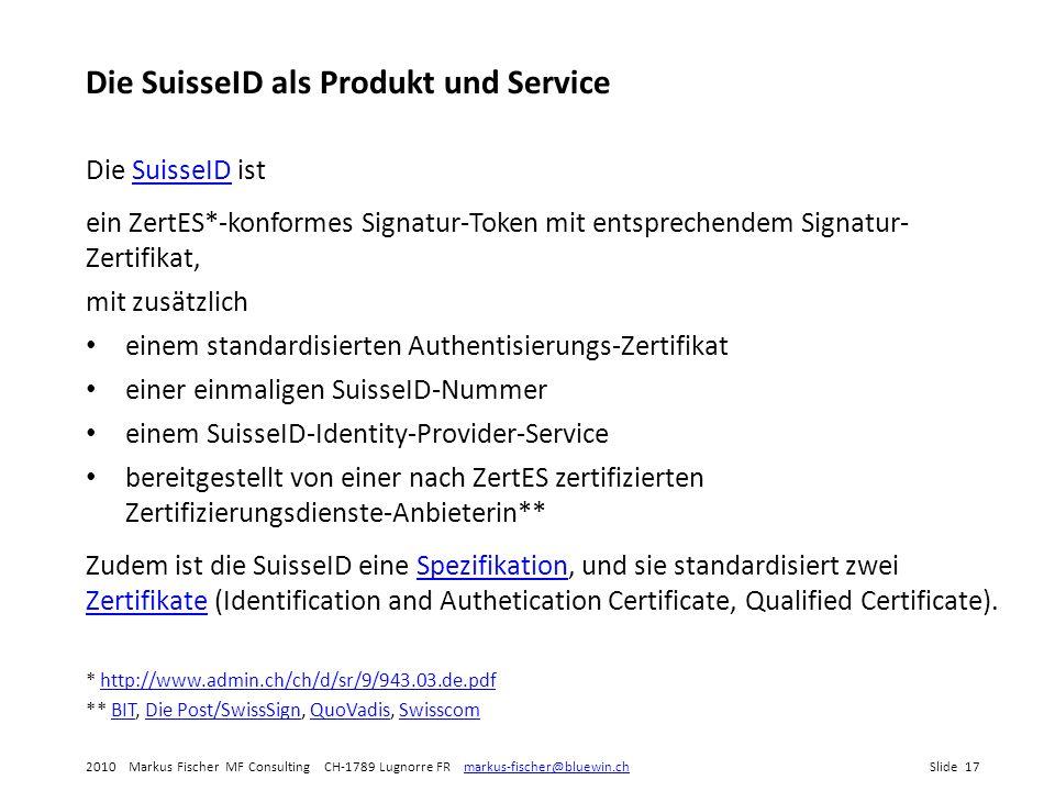 Die SuisseID als Produkt und Service