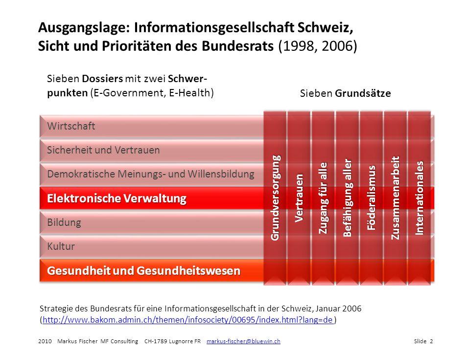 Ausgangslage: Informationsgesellschaft Schweiz, Sicht und Prioritäten des Bundesrats (1998, 2006)