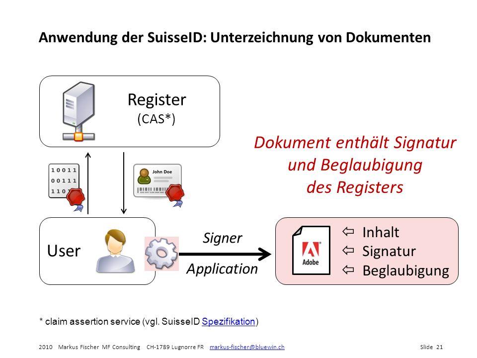 Dokument enthält Signatur und Beglaubigung des Registers