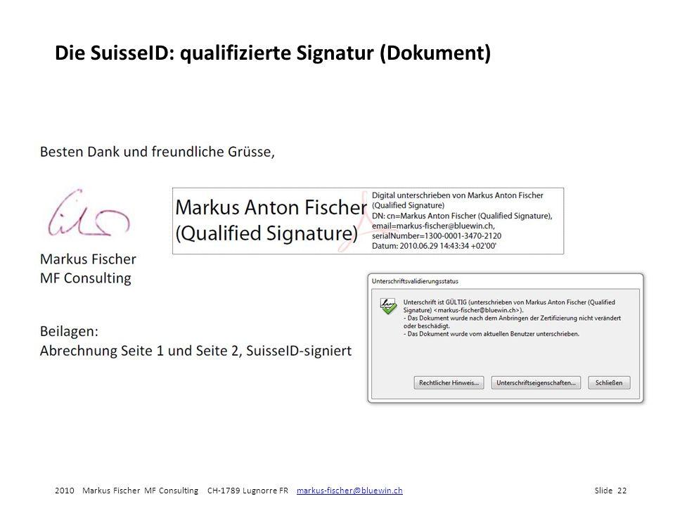 Die SuisseID: qualifizierte Signatur (Dokument)