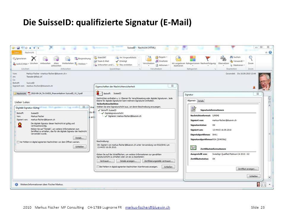 Die SuisseID: qualifizierte Signatur (E-Mail)