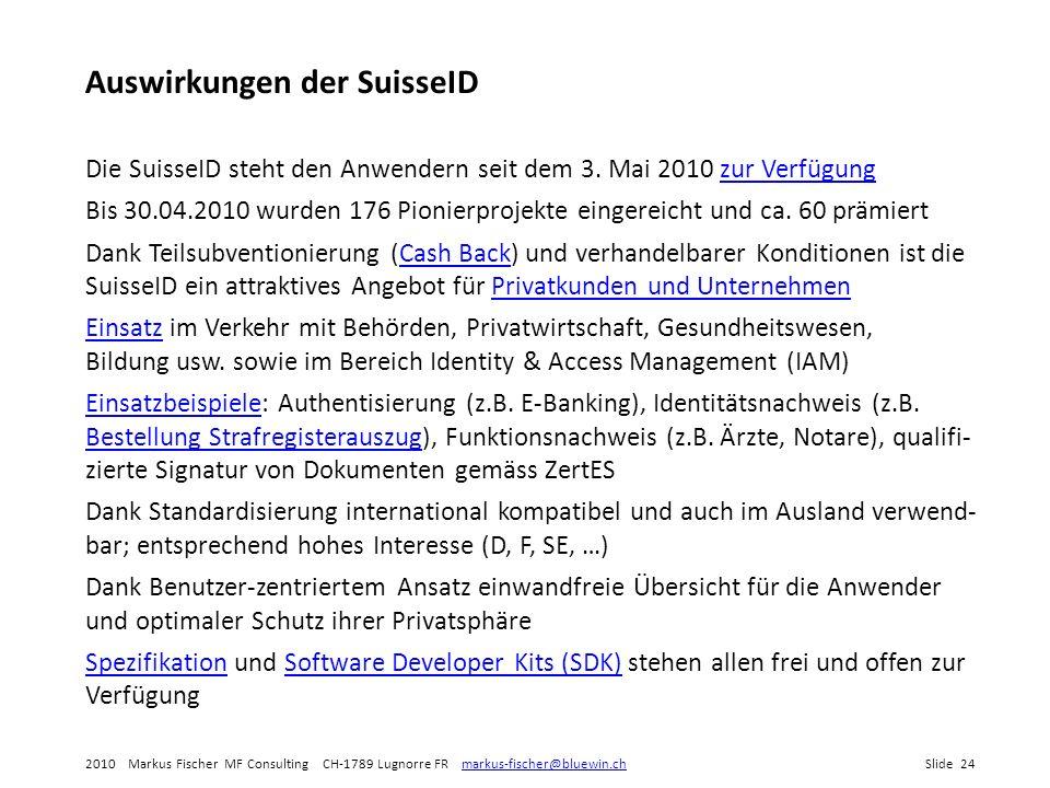 Auswirkungen der SuisseID
