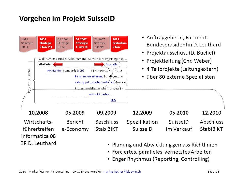 Vorgehen im Projekt SuisseID