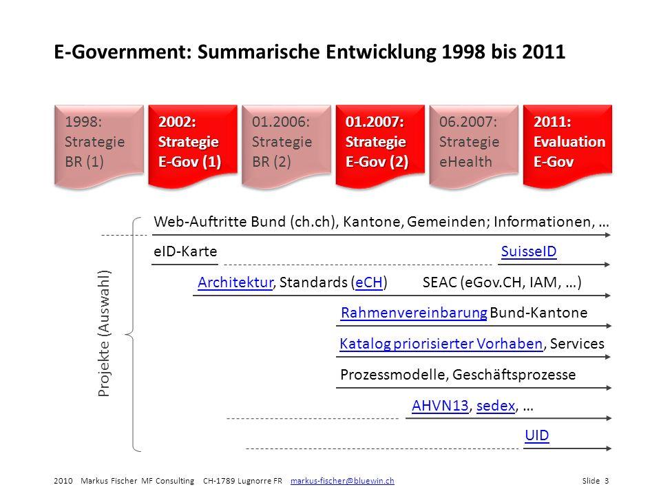 E-Government: Summarische Entwicklung 1998 bis 2011
