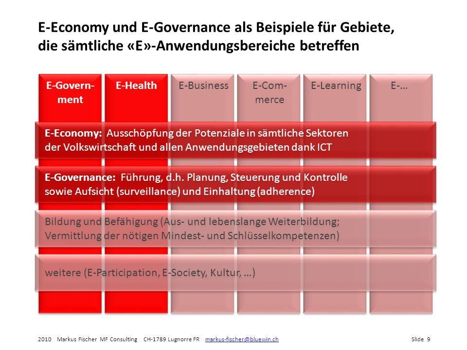 E-Economy und E-Governance als Beispiele für Gebiete, die sämtliche «E»-Anwendungsbereiche betreffen