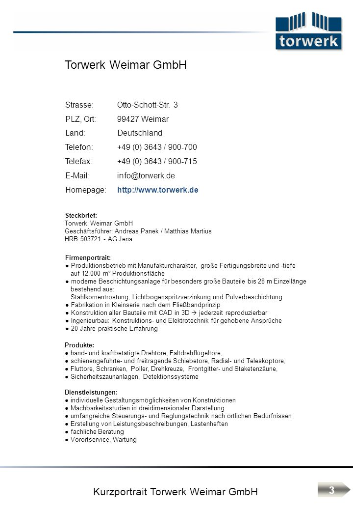 Kurzportrait Torwerk Weimar GmbH