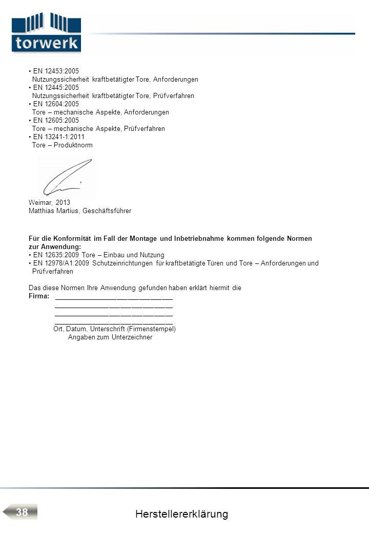 Herstellererklärung 38 EN 12453:2005