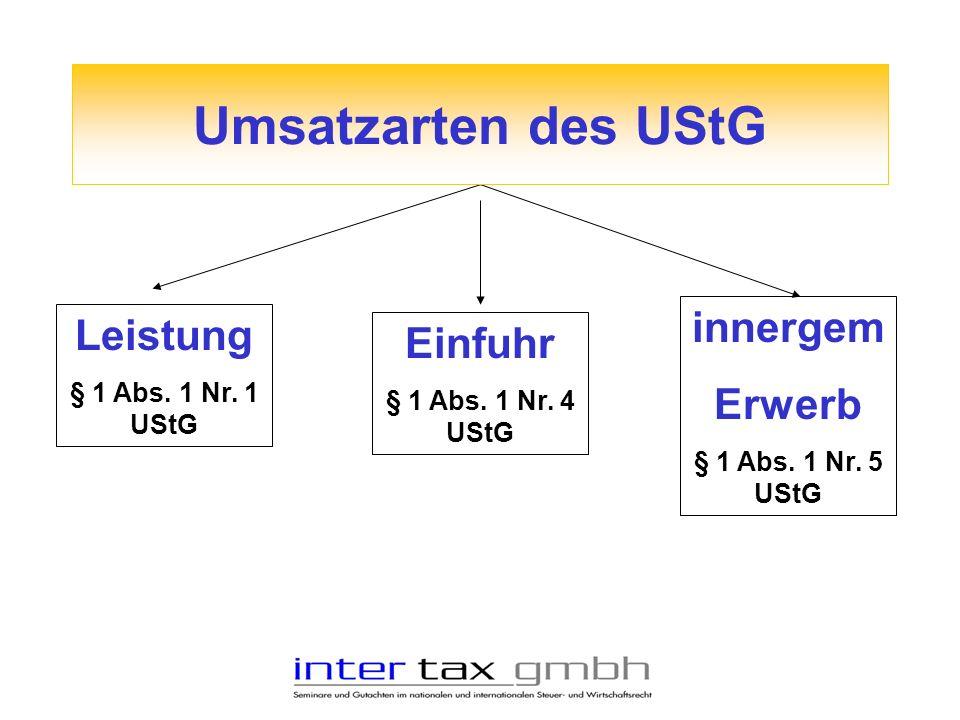Umsatzarten des UStG innergem Leistung Einfuhr Erwerb