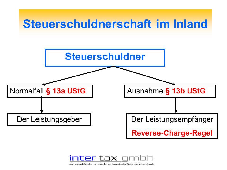 Steuerschuldnerschaft im Inland