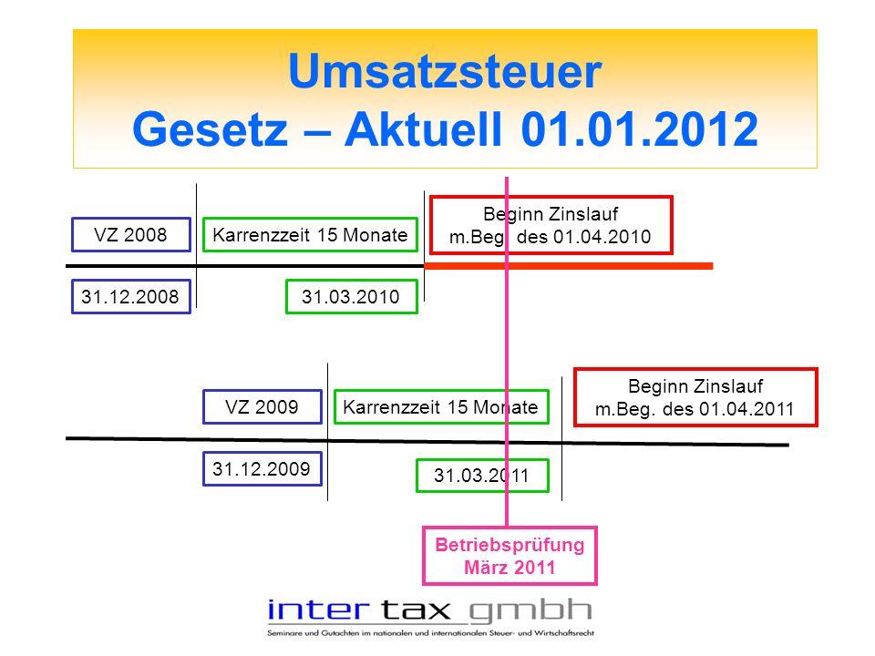 Umsatzsteuer Gesetz – Aktuell 01.01.2012