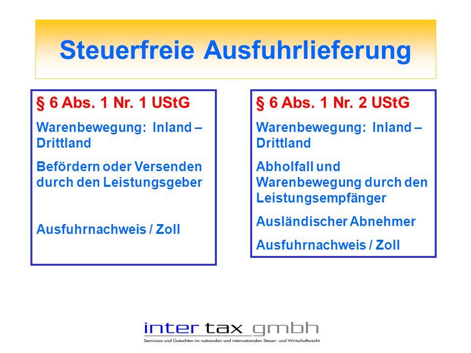Steuerfreie Ausfuhrlieferung