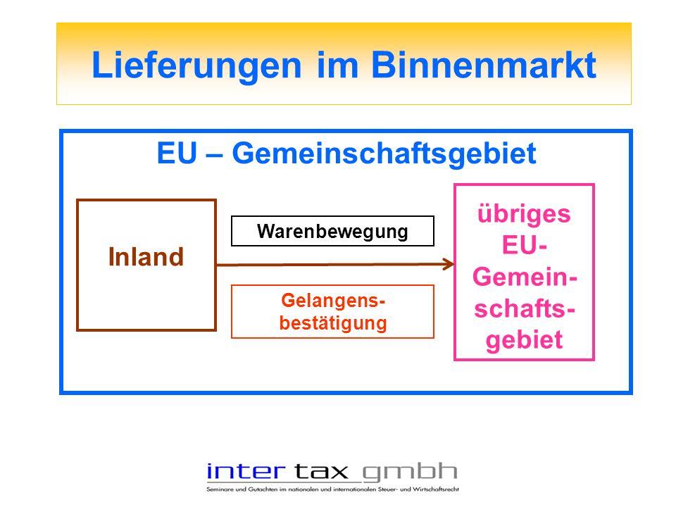 Lieferungen im Binnenmarkt