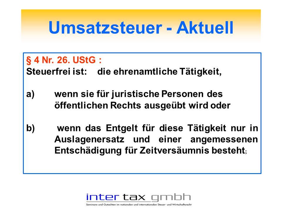 Umsatzsteuer - Aktuell