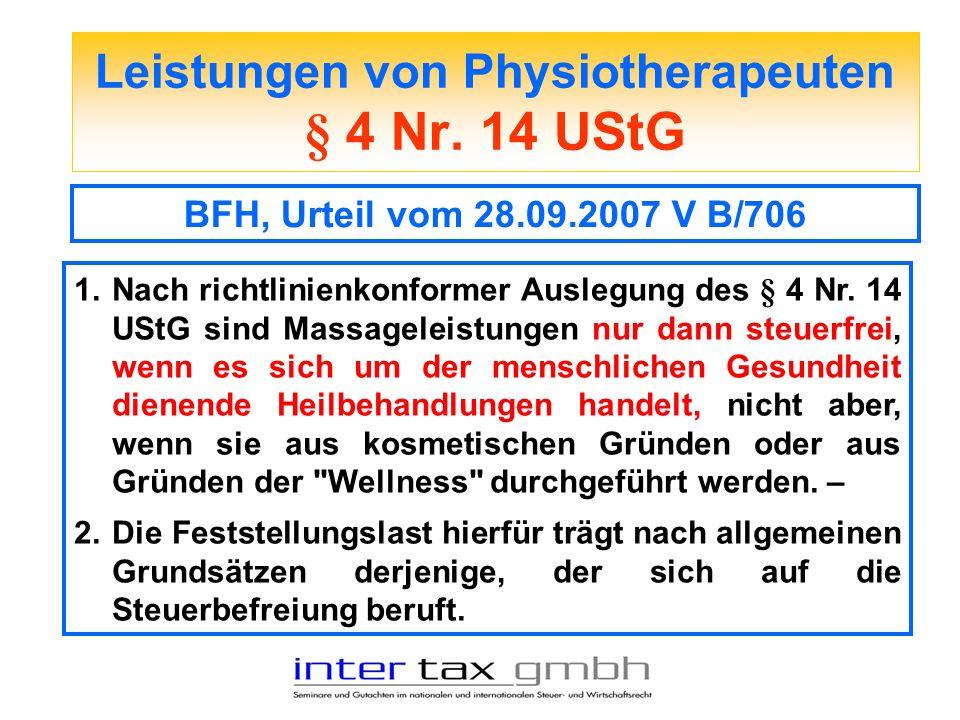 Leistungen von Physiotherapeuten § 4 Nr. 14 UStG
