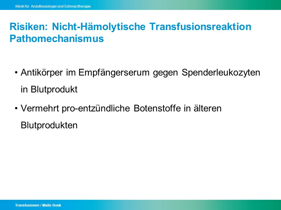 Risiken: Nicht-Hämolytische Transfusionsreaktion Pathomechanismus