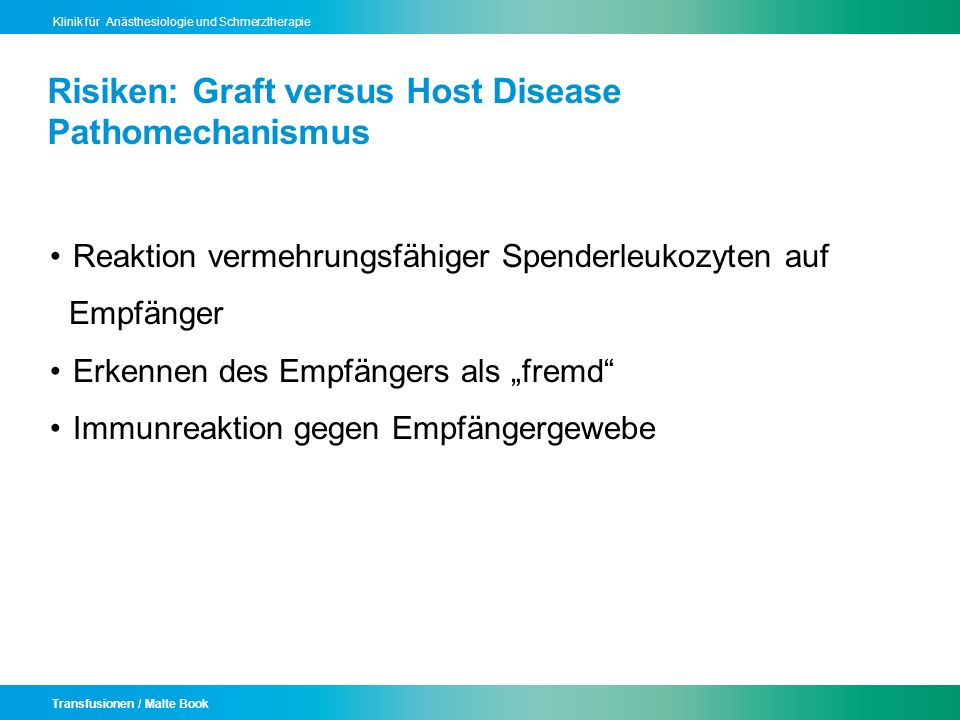 Risiken: Graft versus Host Disease Pathomechanismus