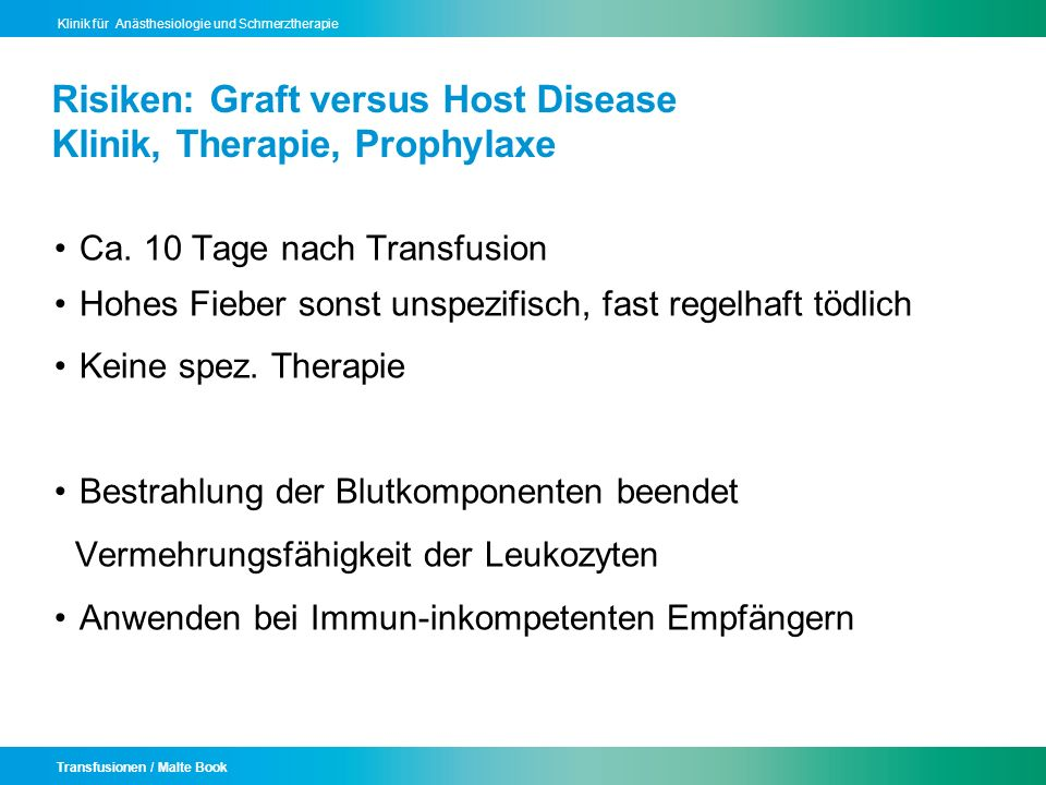 Risiken: Graft versus Host Disease Klinik, Therapie, Prophylaxe