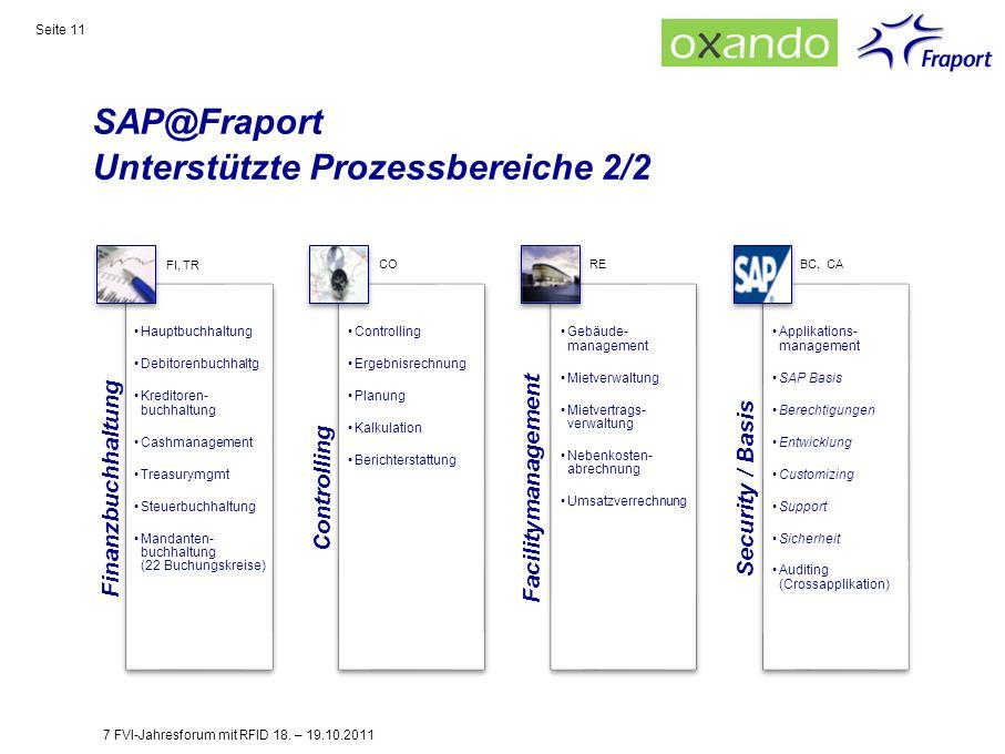 SAP@Fraport Unterstützte Prozessbereiche 2/2