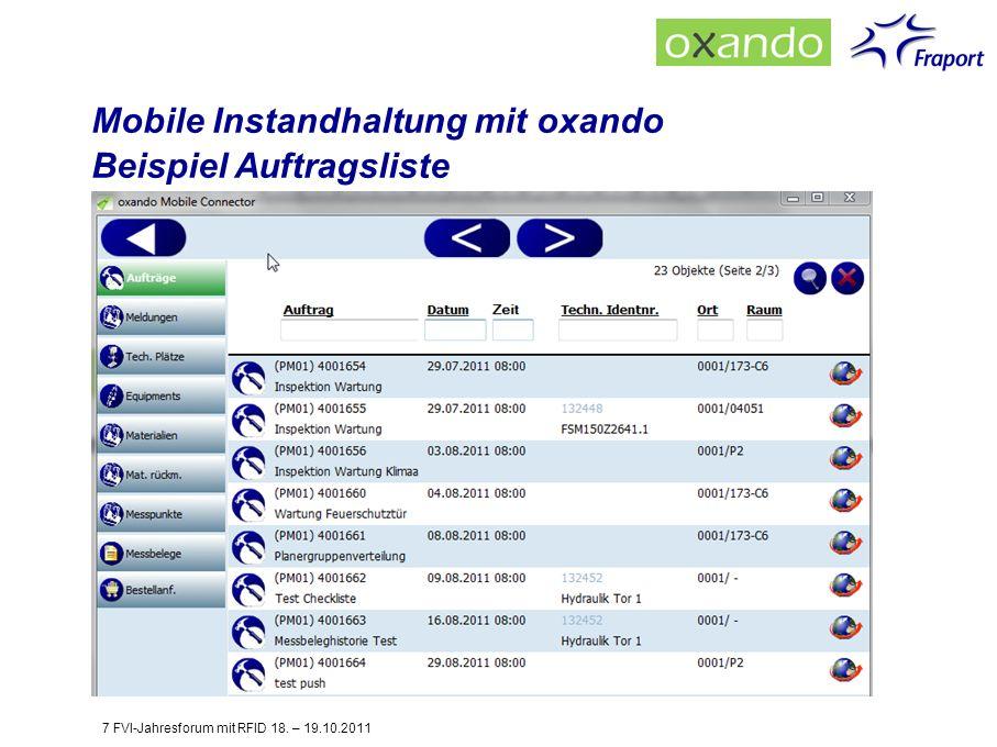 Mobile Instandhaltung mit oxando Beispiel Auftragsliste