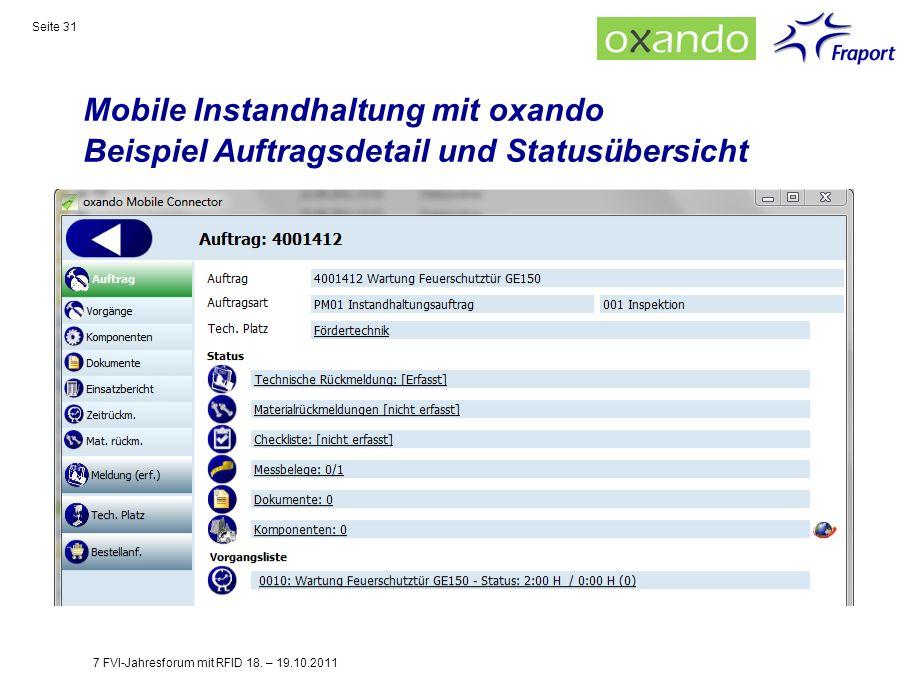 Mobile Instandhaltung mit oxando Beispiel Auftragsdetail und Statusübersicht
