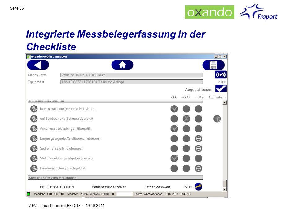Integrierte Messbelegerfassung in der Checkliste