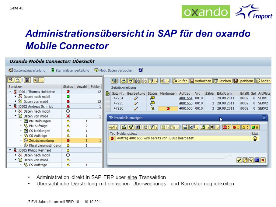 Administrationsübersicht in SAP für den oxando Mobile Connector