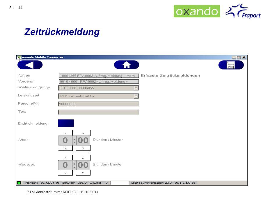 Zeitrückmeldung 7 FVI-Jahresforum mit RFID 18. – 19.10.2011