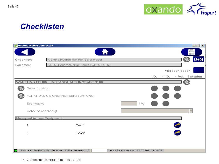 Checklisten 7 FVI-Jahresforum mit RFID 18. – 19.10.2011