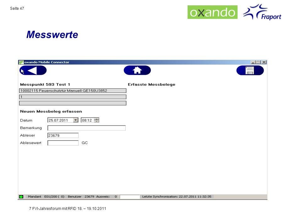 Messwerte 7 FVI-Jahresforum mit RFID 18. – 19.10.2011