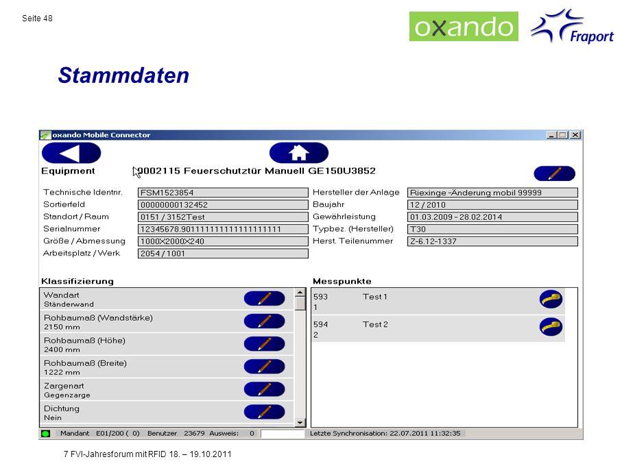 Stammdaten 7 FVI-Jahresforum mit RFID 18. – 19.10.2011