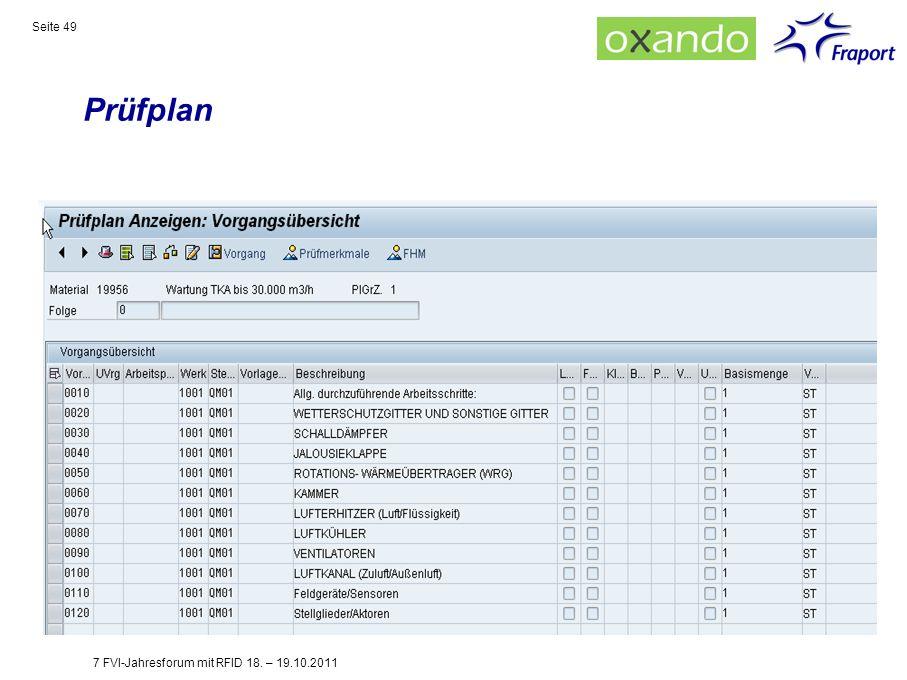 Prüfplan 7 FVI-Jahresforum mit RFID 18. – 19.10.2011