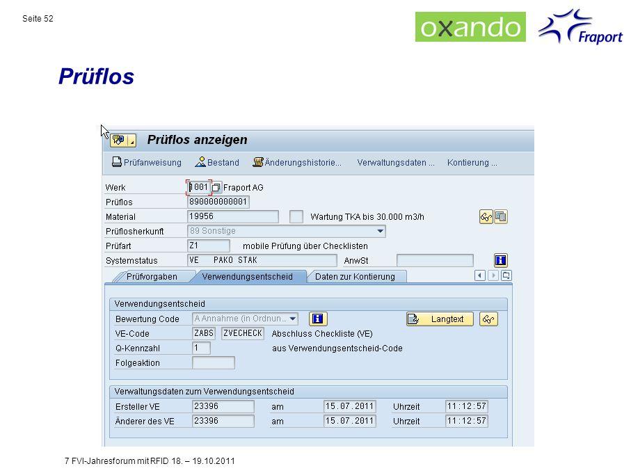 Prüflos 7 FVI-Jahresforum mit RFID 18. – 19.10.2011