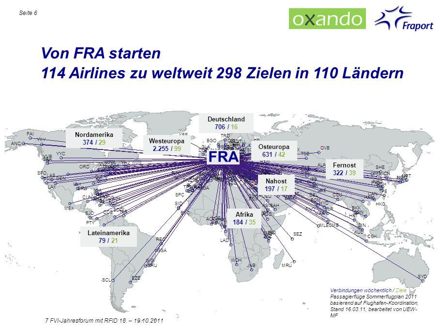 114 Airlines zu weltweit 298 Zielen in 110 Ländern