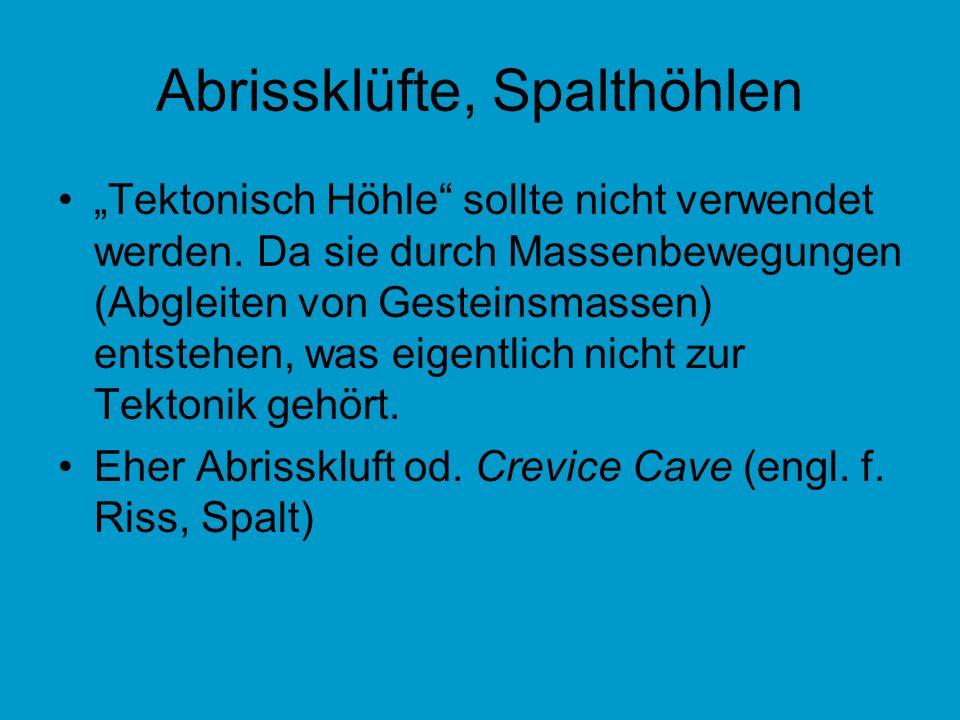 Abrissklüfte, Spalthöhlen