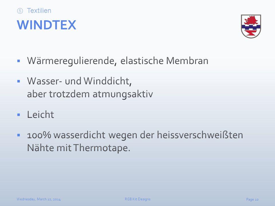 WINDTEX Wärmeregulierende, elastische Membran