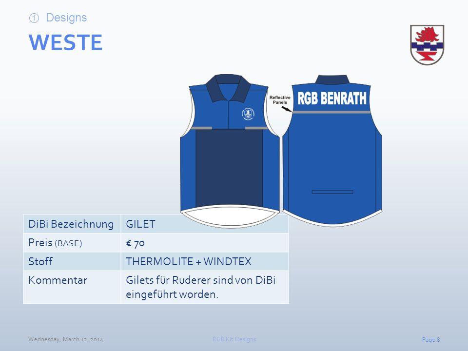 WESTE Designs DiBi Bezeichnung GILET Preis (BASE) € 70 Stoff