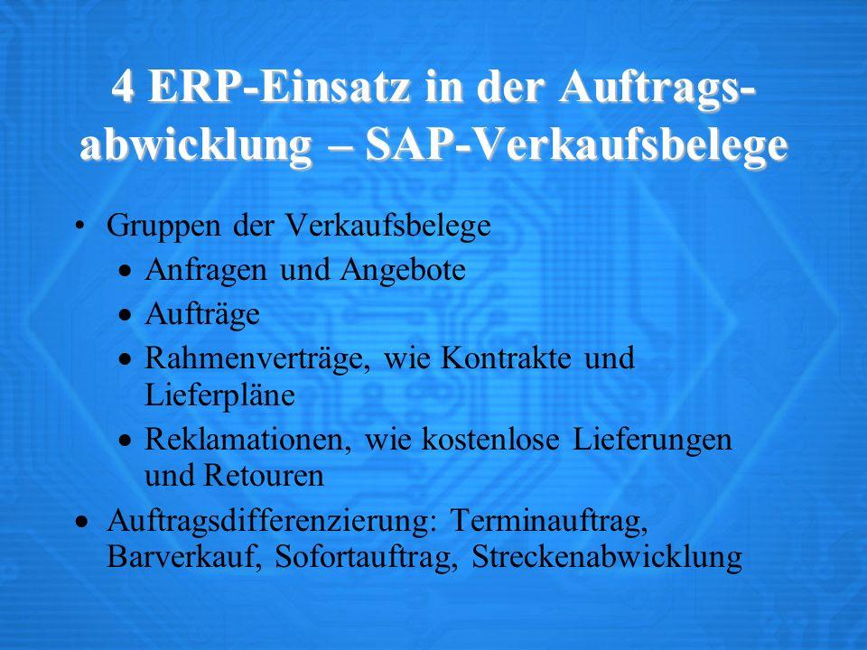 4 ERP-Einsatz in der Auftrags-abwicklung – SAP-Verkaufsbelege