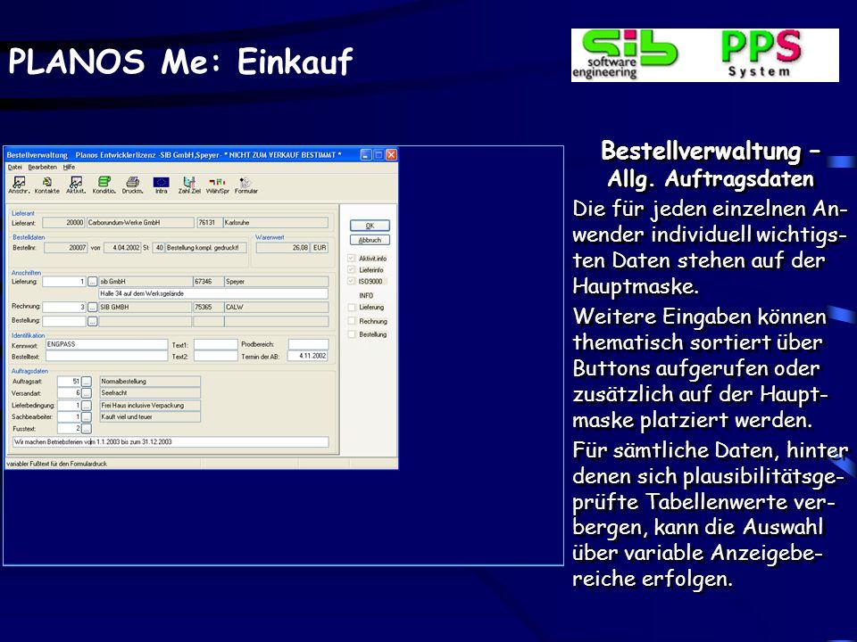 Bestellverwaltung – Allg. Auftragsdaten