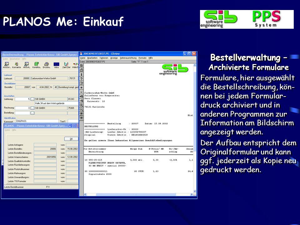 Bestellverwaltung –Archivierte Formulare