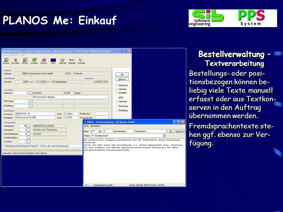 Bestellverwaltung – Textverarbeitung