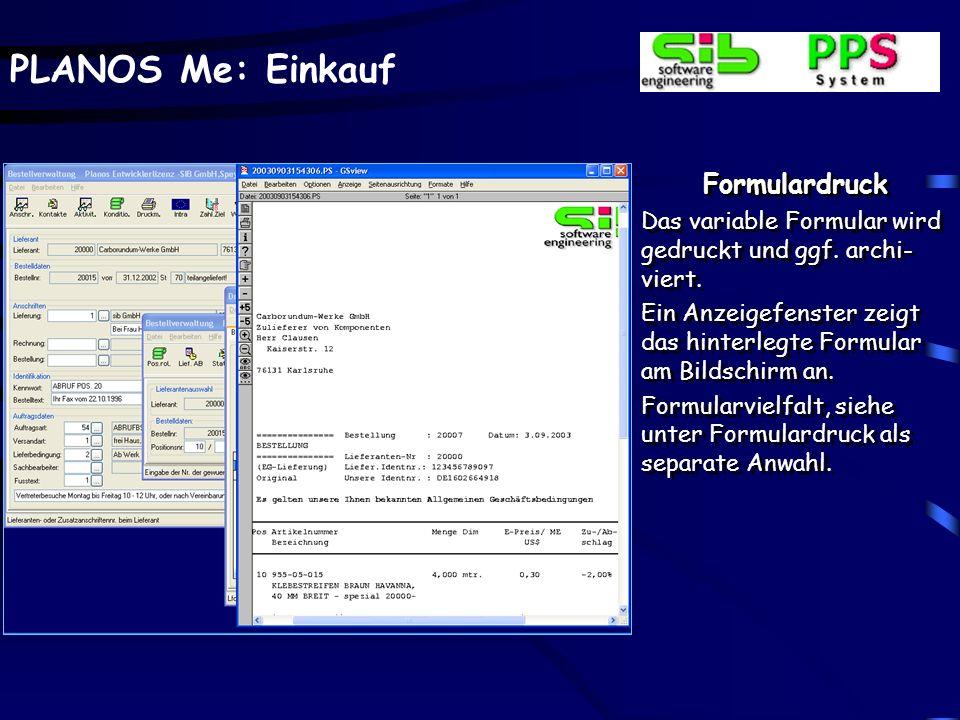 Formulardruck Das variable Formular wird gedruckt und ggf. archi-viert. Ein Anzeigefenster zeigt das hinterlegte Formular am Bildschirm an.
