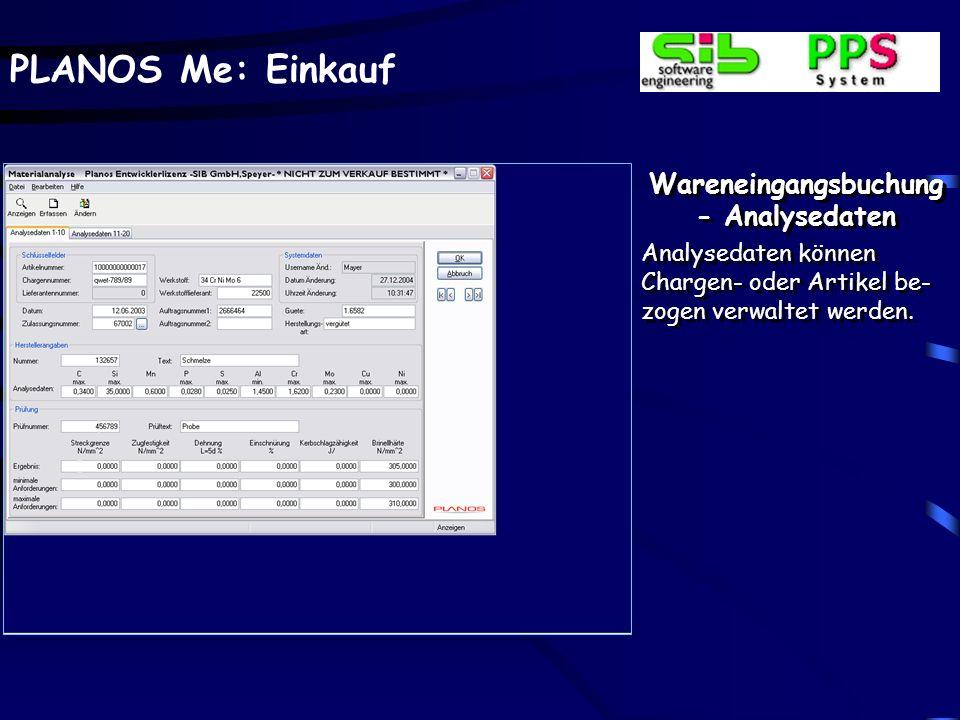 Wareneingangsbuchung - Analysedaten