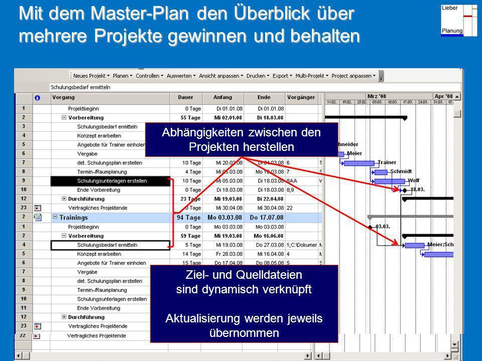 Mit dem Master-Plan den Überblick über mehrere Projekte gewinnen und behalten