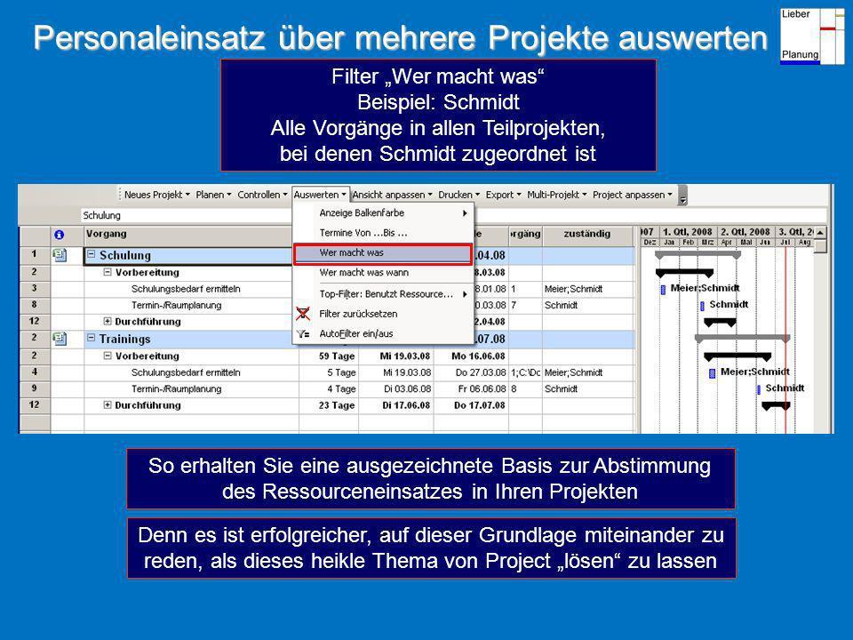 Personaleinsatz über mehrere Projekte auswerten
