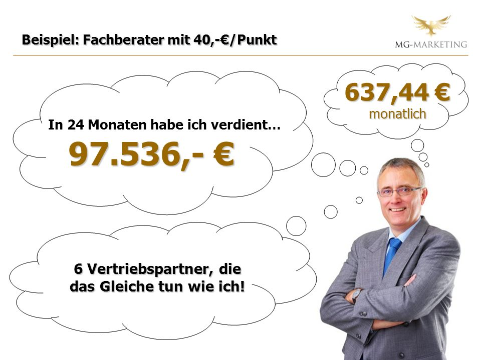 97.536,- € 637,44 € 6 Vertriebspartner, die das Gleiche tun wie ich!