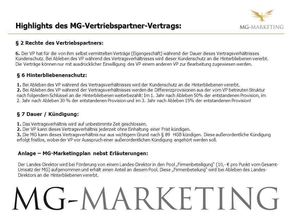 Highlights des MG-Vertriebspartner-Vertrags: